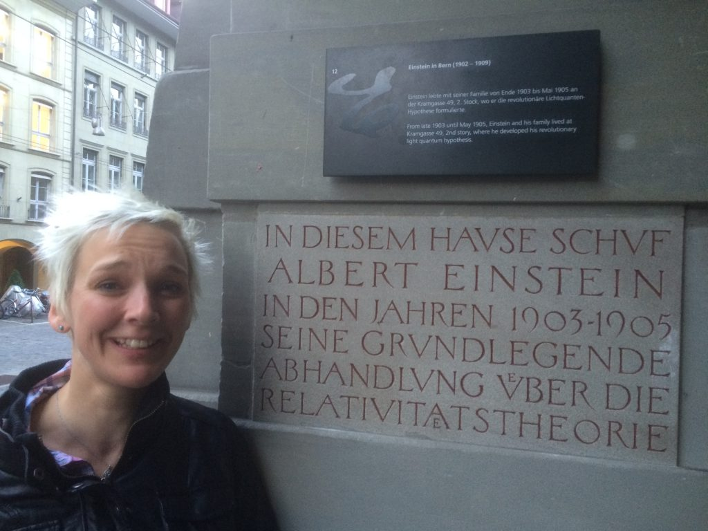 Sarah outside the former home of Bern's most famous resident.